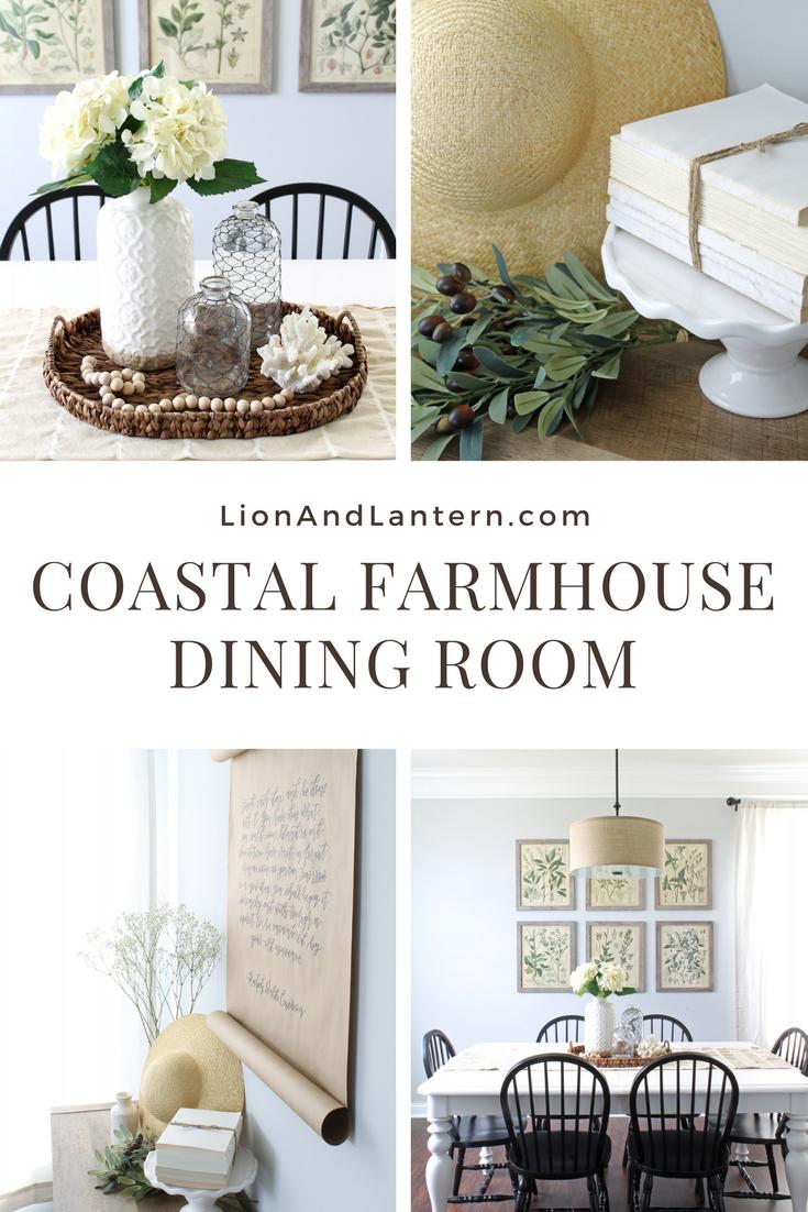 Coastal Farmhouse Dining Room at LionAndLantern.com