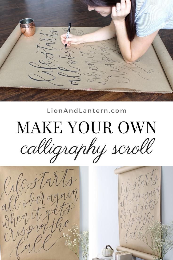 DIY Calligraphy Scroll Wall Art Tutorial at LionAndLantern.com. Budget decor, autumn decor, fall decor