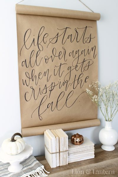 DIY Calligraphy Scroll Wall Art Tutorial at LionAndLantern.com