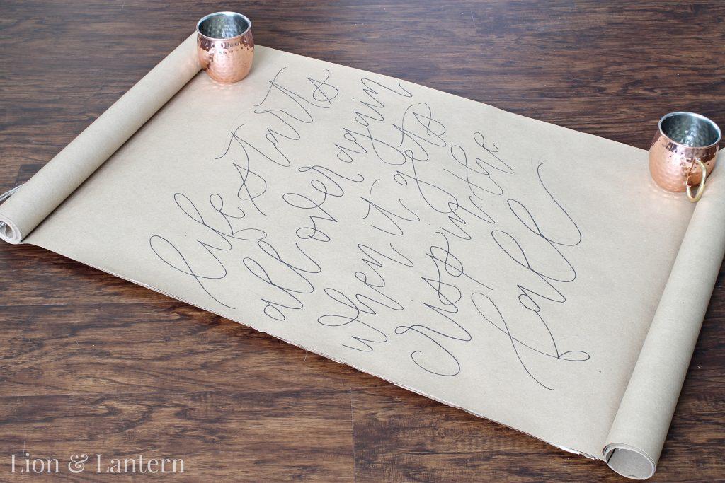 DIY Calligraphy Scroll Wall Art Tutorial at LionAndLantern.com. Budget decor, autumn decor, fall decor.