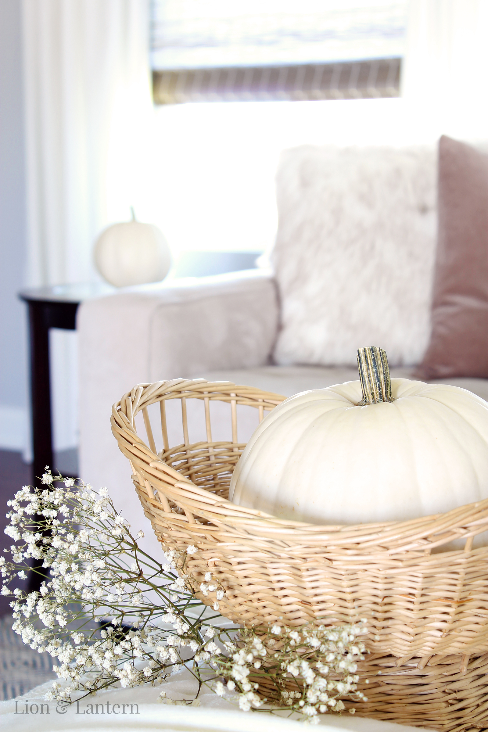 Neutral Fall Living Room at LionAndLantern.com. Autumn decor, fall decor, white pumpkins, baskets, throws, texture, shelf decor