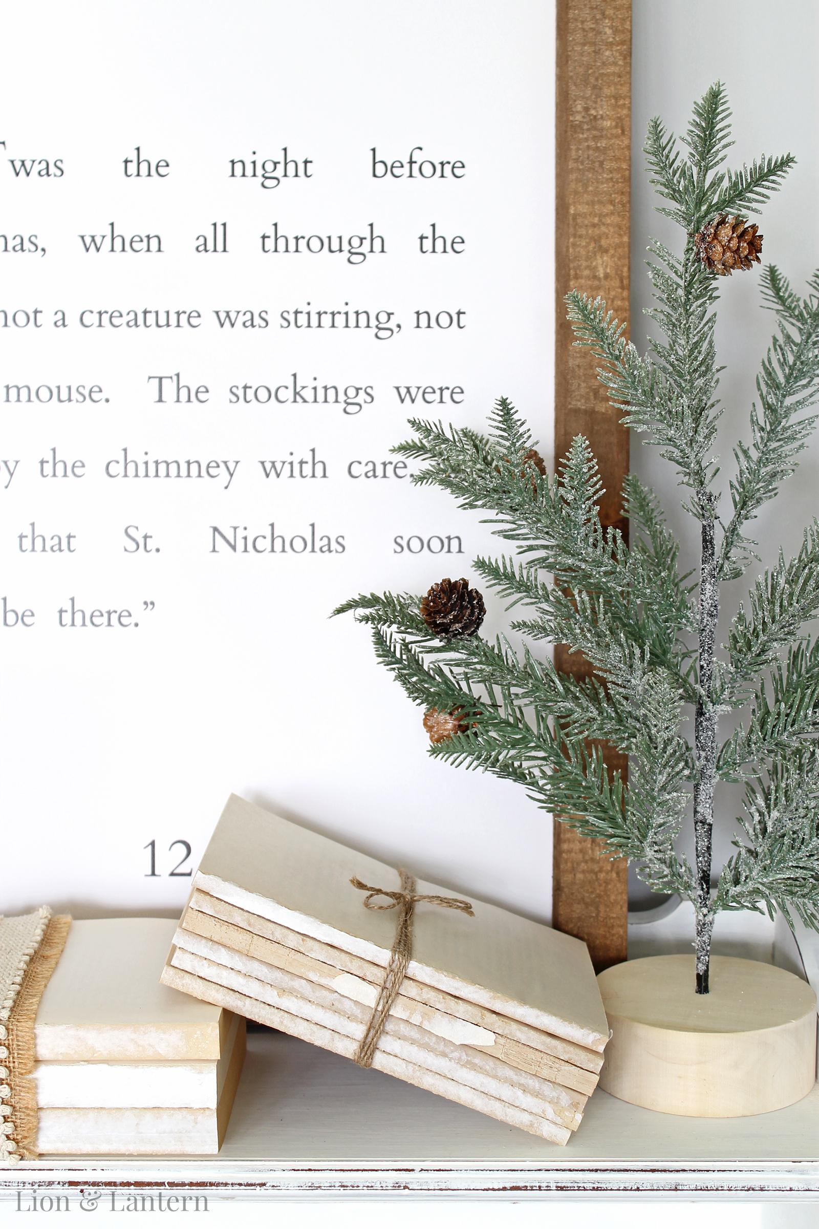 DIY Book Bundle Tutorial at LionAndLantern.com. Farmhouse Christmas, DIY Christmas decor, budget decor, thrifty, twine, ribbon, farmhouse sign.