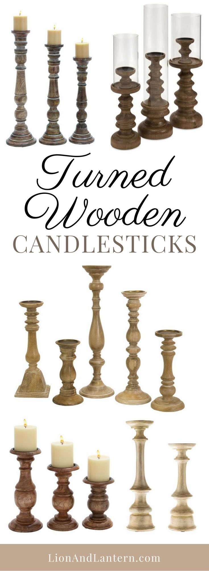 Turned Wooden Candlesticks at LionAndLantern.com. Farmhouse candlestick, candle holder, turned candle holder, rustic candle stick