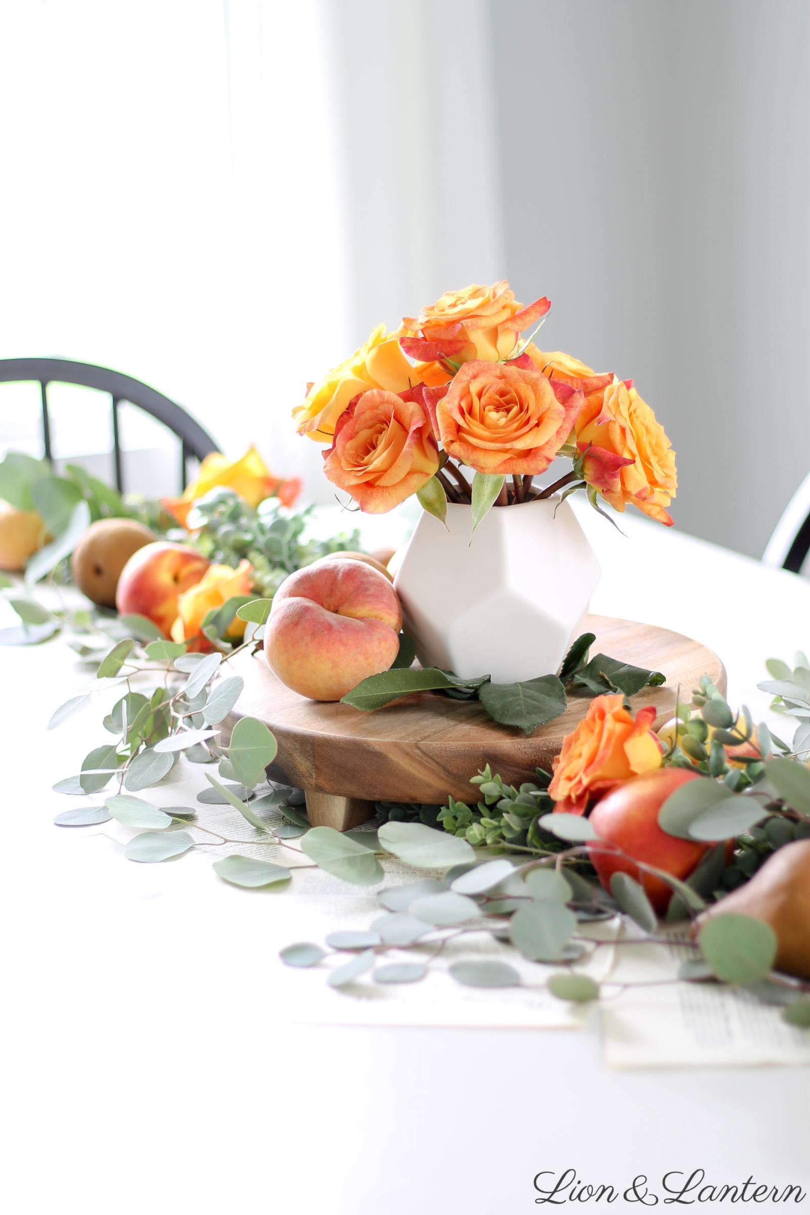 Fruit & Eucalyptus Fall Table at LionAndLantern.com   fall home tour, fall farmhouse decor, fall tablescape, autumn decor, peaches, pears, botanical prints