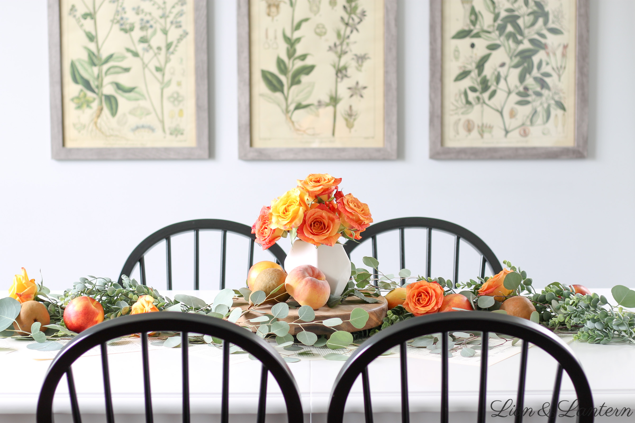 Fruit & Eucalyptus Fall Table at LionAndLantern.com | fall farmhouse decor, fall tablescape, autumn decor, peaches, pears, botanical prints