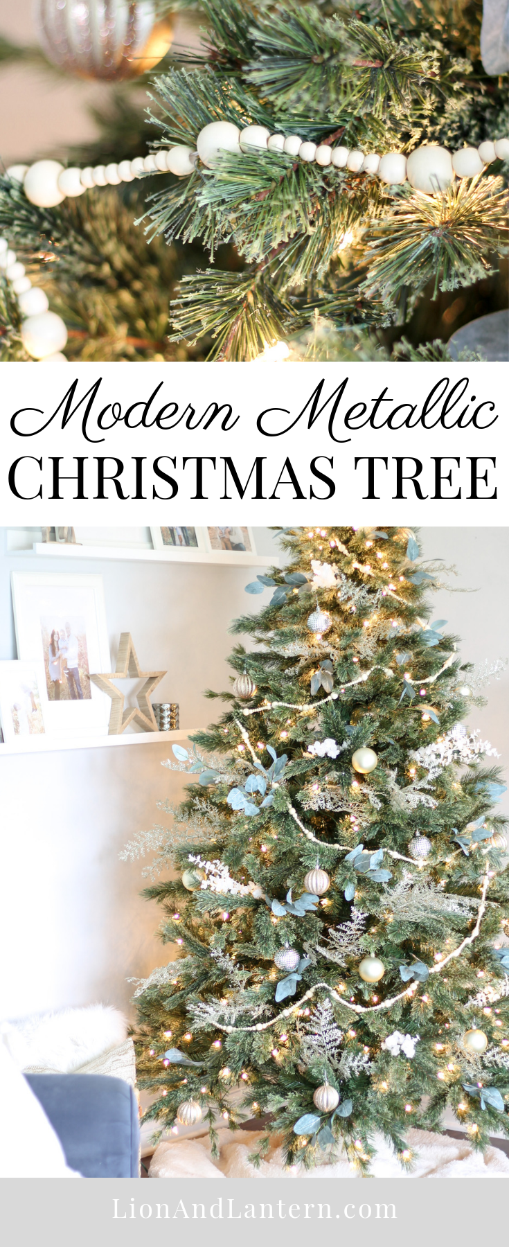 Modern Metallic Christmas Tree at LionAndLantern.com | minimalist Christmas, Scandi, bead garland, eucalyptus, cashmere tree, modern Christmas decor