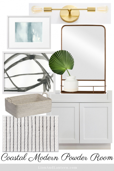 Coastal Modern Powder Room Design Plan at LionAndLantern.com | modern bathroom, coastal bathroom, bright and airy, budget decor, affordable decor, abstract watercolor art, pharmacy mirror, brass light fixture
