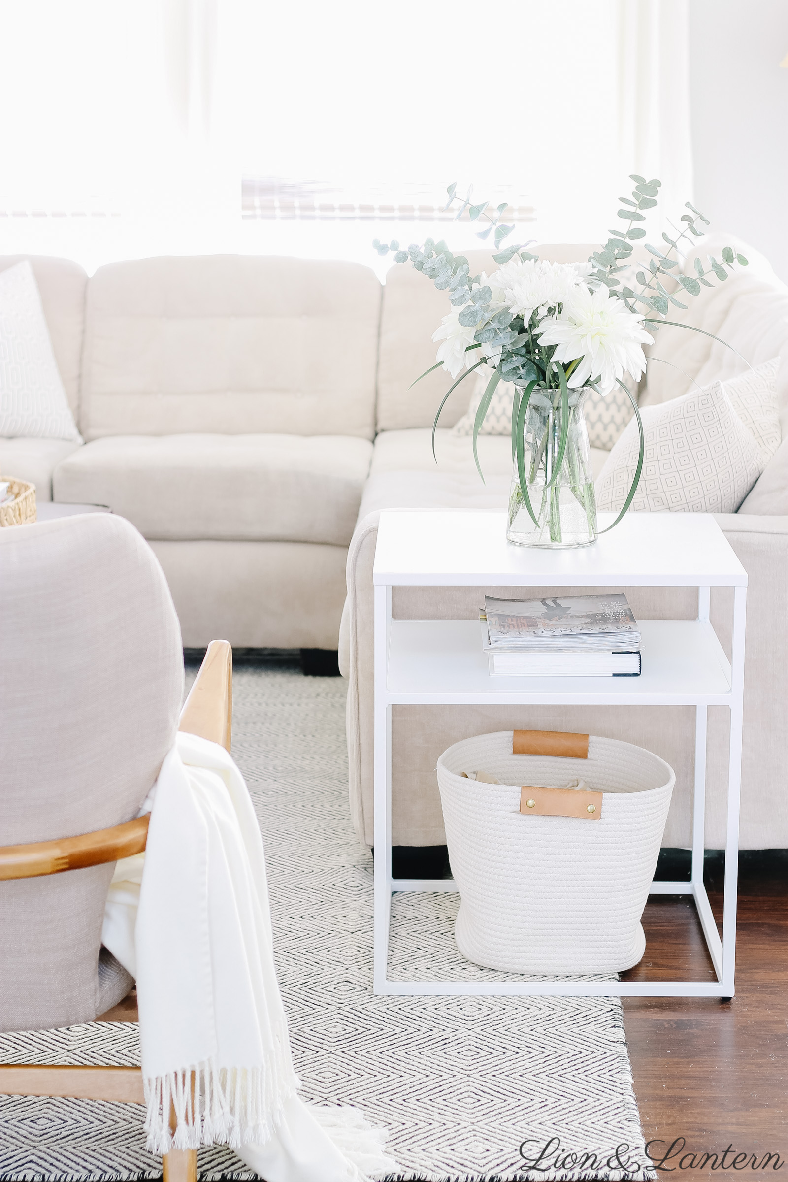 35+ Modern Side Tables on a Budget at LionAndLantern.com | accent table, metal side table, eucalyptus, modern accent chairs, budget decorating, neutral living room, Haddie Wood Frame Club Chair