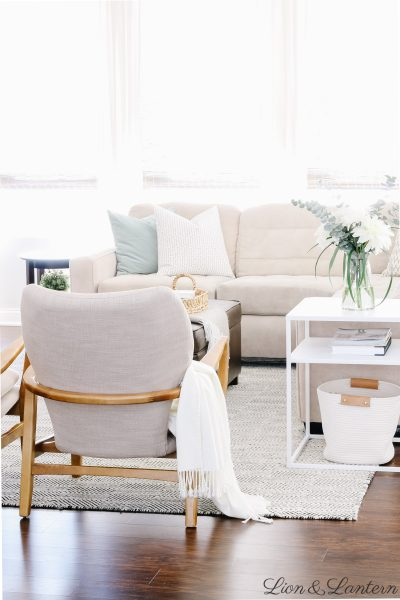 35+ Modern Side Tables at LionAndLantern.com | spring living room decor, eucalyptus, modern accent chairs, budget decorating, neutral living room, Haddie Wood Frame Club Chair