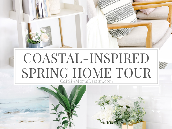 Spring Home Tour 2019 | coastal decor, bright and airy home, wood frame chairs, eucalyptus, modern accent chairs, budget decorating, neutral living room, ladder shelf, shelf styling