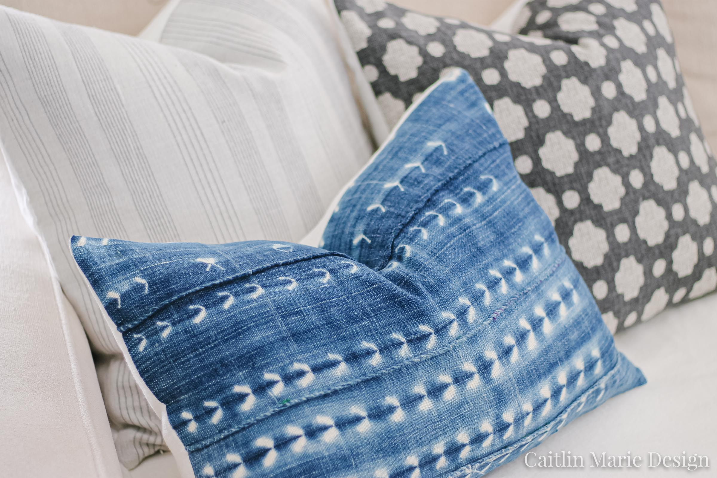 Summer Home Tour 2019 | coastal living room, modern traditional, Mudcloth indigo, pillow covers, woven wood shades