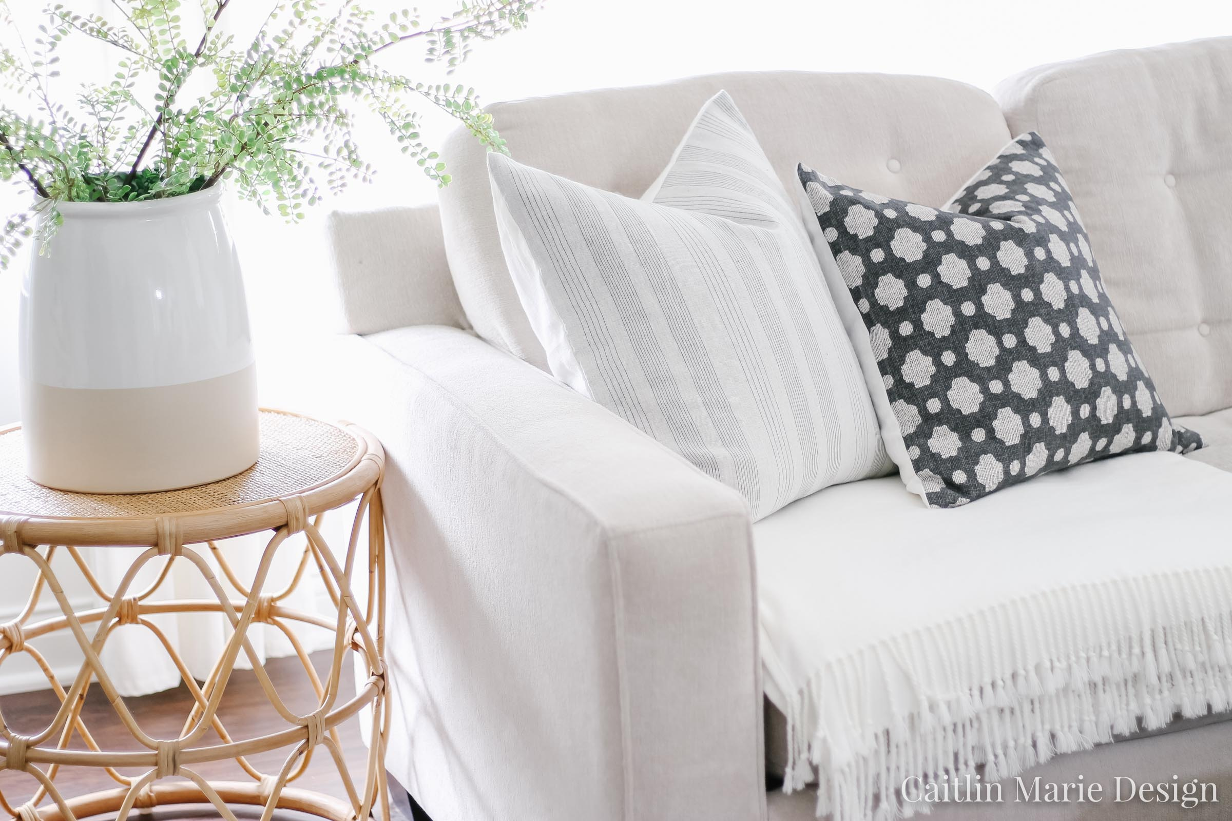 Summer Home Tour 2019 | coastal living room, modern traditional, large dipped vase, pillow covers, woven wood shades
