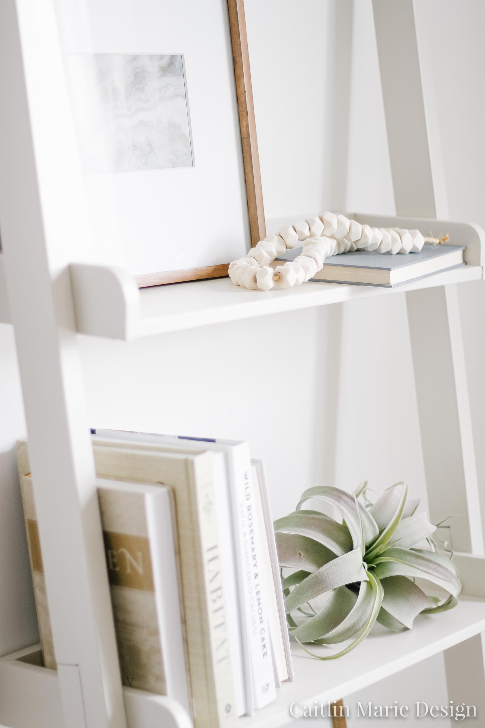 Summer Home Tour 2019 | minimalist decor, bone beads, coastal living room, modern traditional, ladder shelf