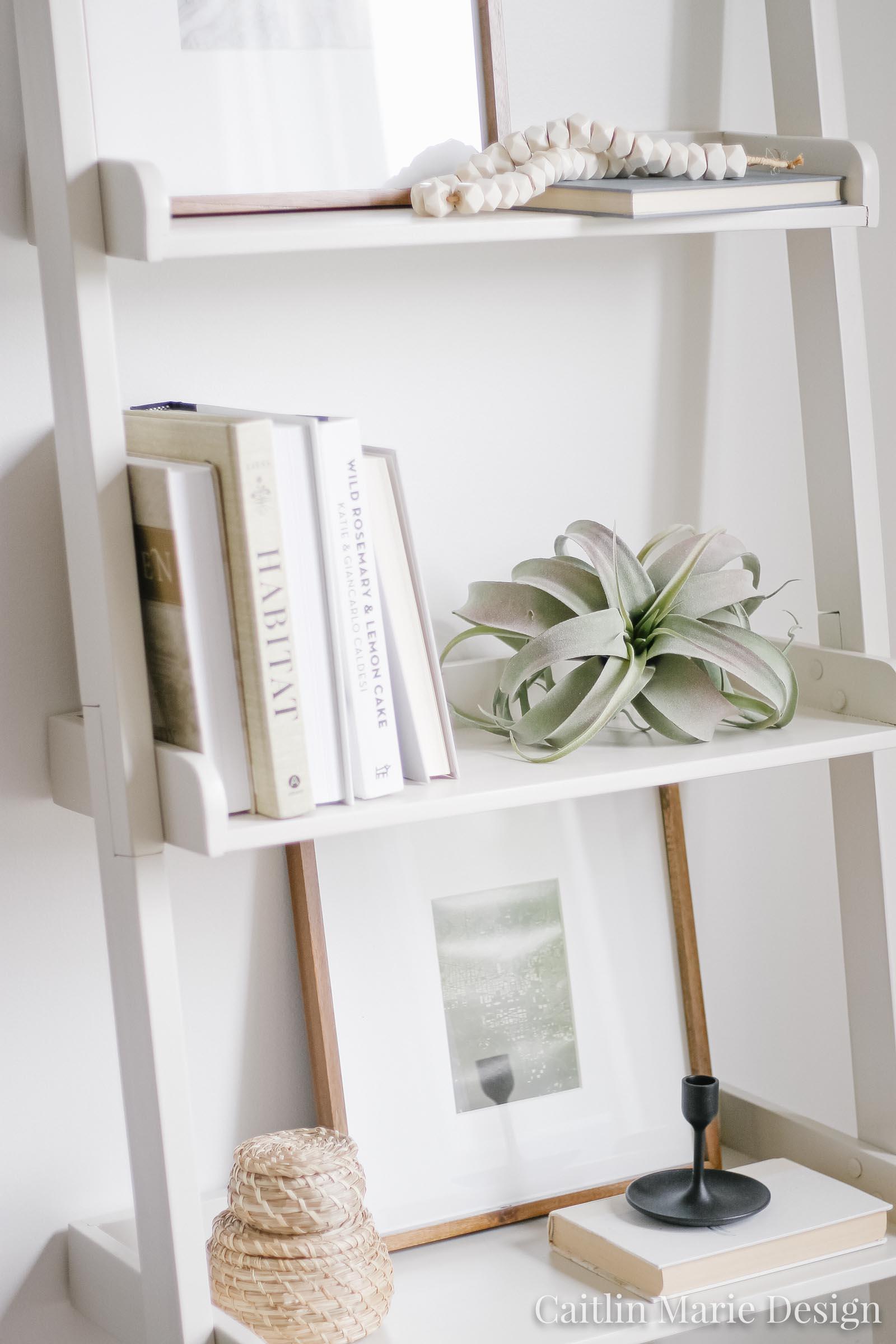 Summer Home Tour 2019 | minimalist decor, bone beads, coastal living room, modern traditional, ladder shelf