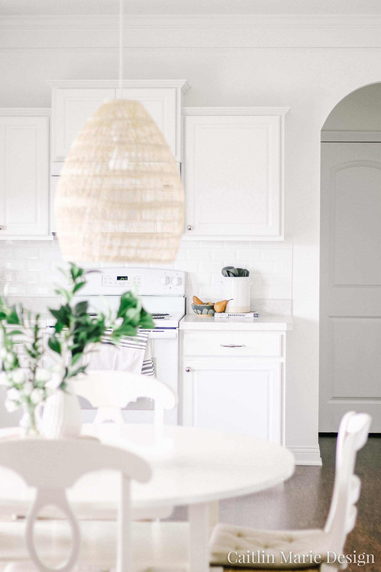 Summer Home Tour 2019 | white kitchen, woven rattan pendant light, minimalist decor, white subway tile, vintage