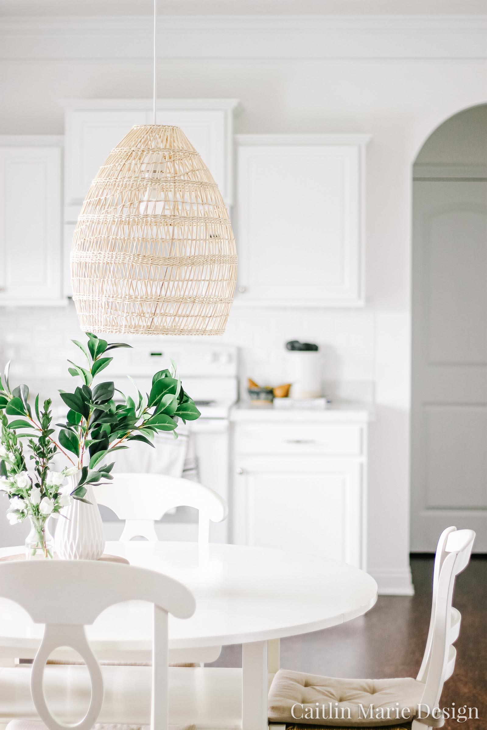 Summer Home Tour 2019 | white kitchen, woven rattan pendant light, minimalist decor, white subway tile, vintage