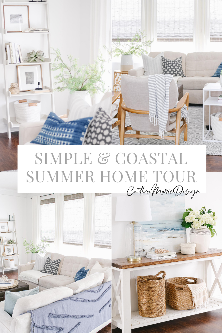 Summer Home Tour 2019 | coastal living room, modern traditional, wood accent chairs, pillow covers, woven wood shades