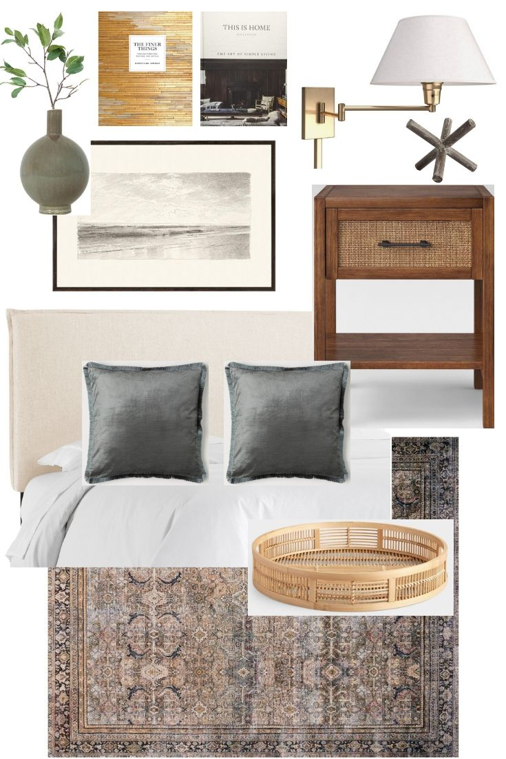Modern Traditional Bedroom Mood Board Caitlin Marie Design
