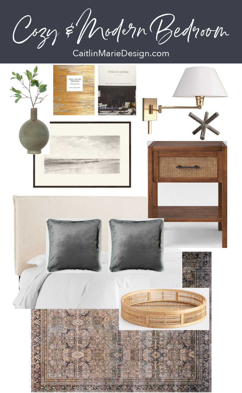 Cozy Modern Bedroom Mood Board | modern traditional design, guest room ideas, bedroom decor, upholstered headboard, bedside tables, vintage style rug