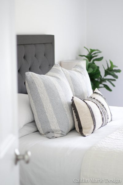 Casual Coastal Master Bedroom Update | modern traditional decor, minimalist style, boho home, black tufted headboard