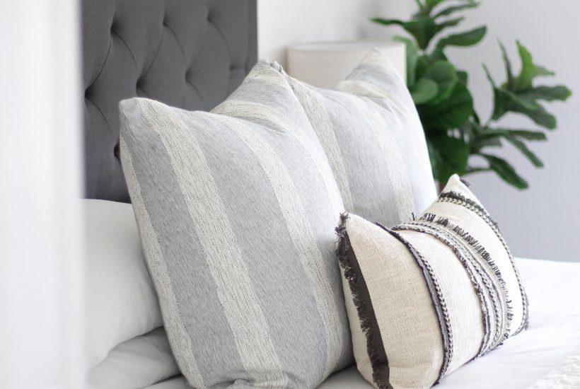 Casual Coastal Master Bedroom Update | modern traditional decor, minimalist style, boho home, black tufted headboard