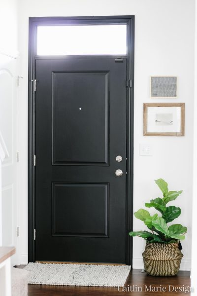 Painted Front Door & A Special Rug | Sukhi rug, woolen loop handmade rug, modern traditional home, simple entryway decor