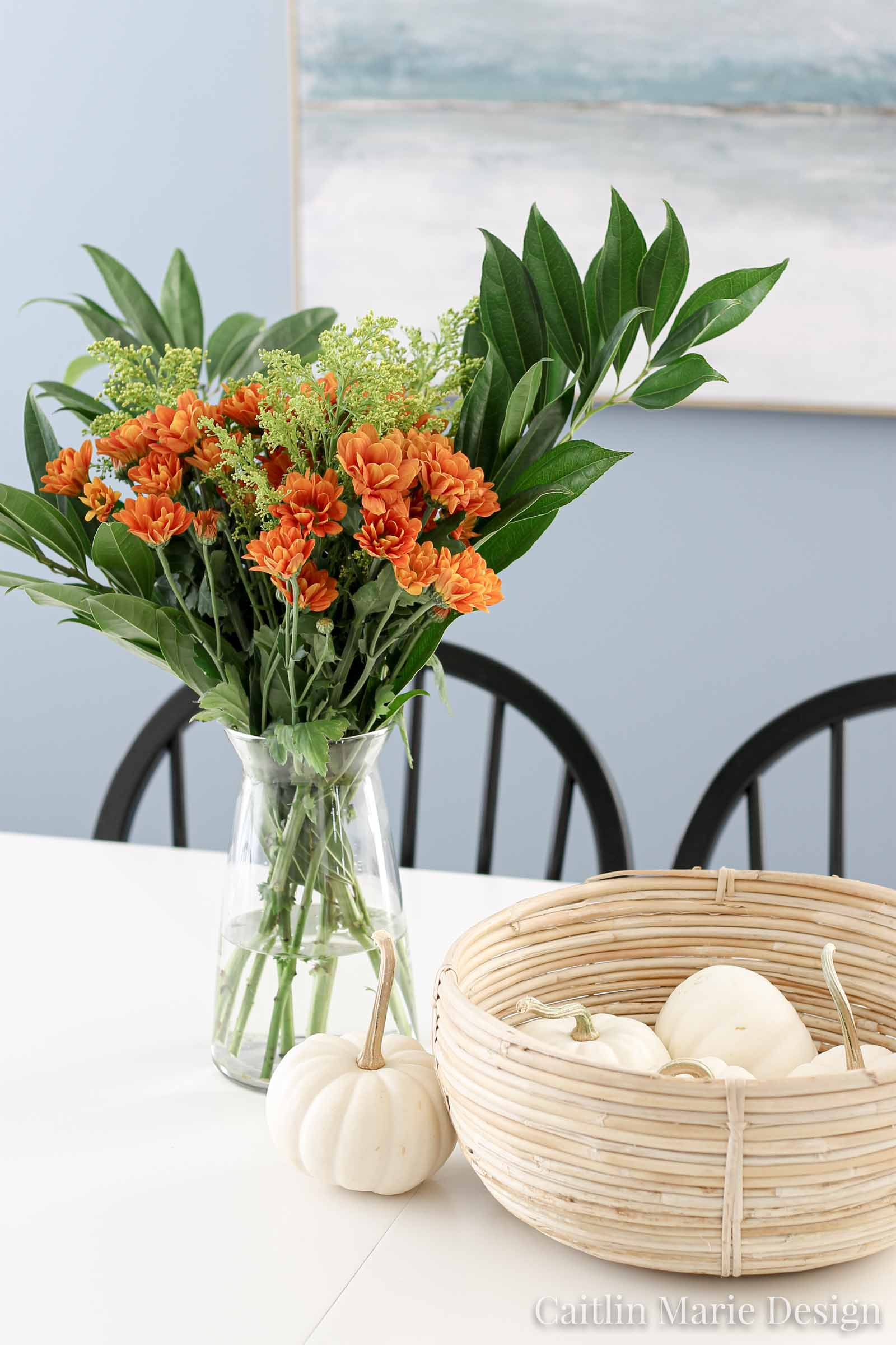fall dining room, McGee & Co basket, white pumpkins, minimalist landscape art