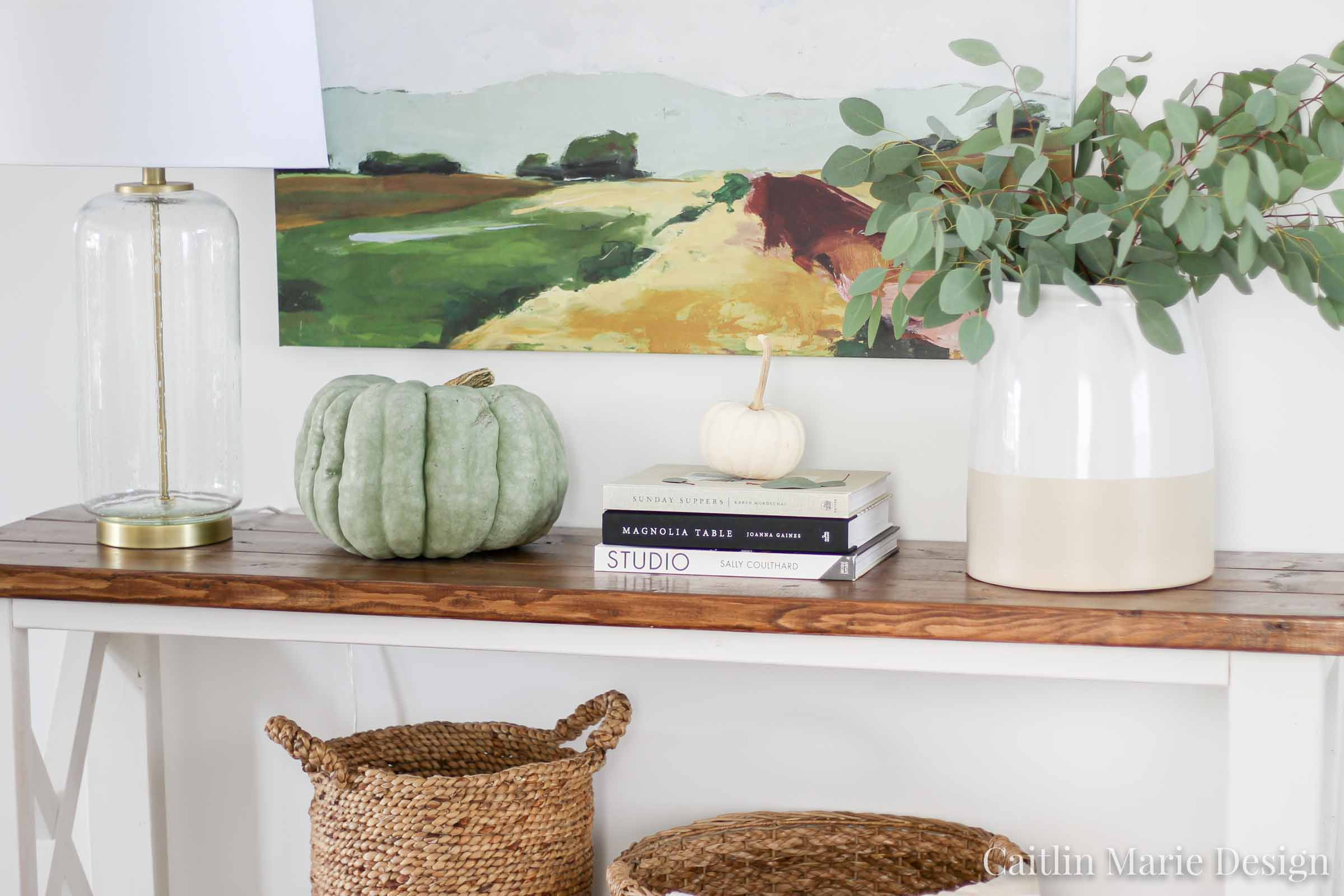 Fall entryway, autumn decor, fall home, modern traditional, fall farmhouse, eucalyptus