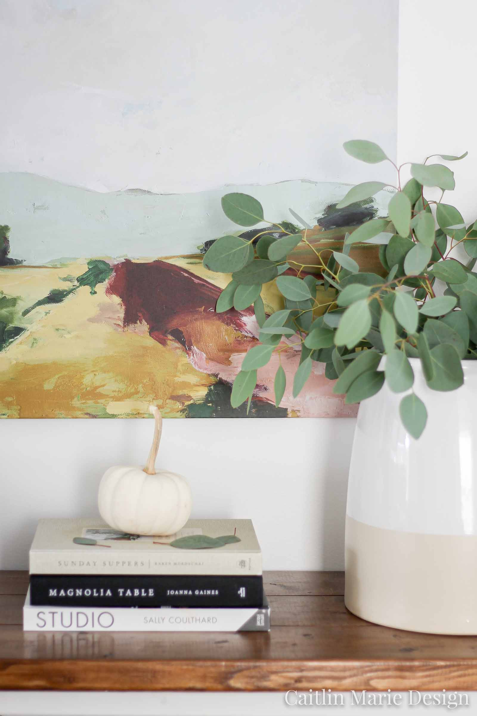 Fall entryway, autumn decor, fall home, modern traditional, fall farmhouse, eucalyptus
