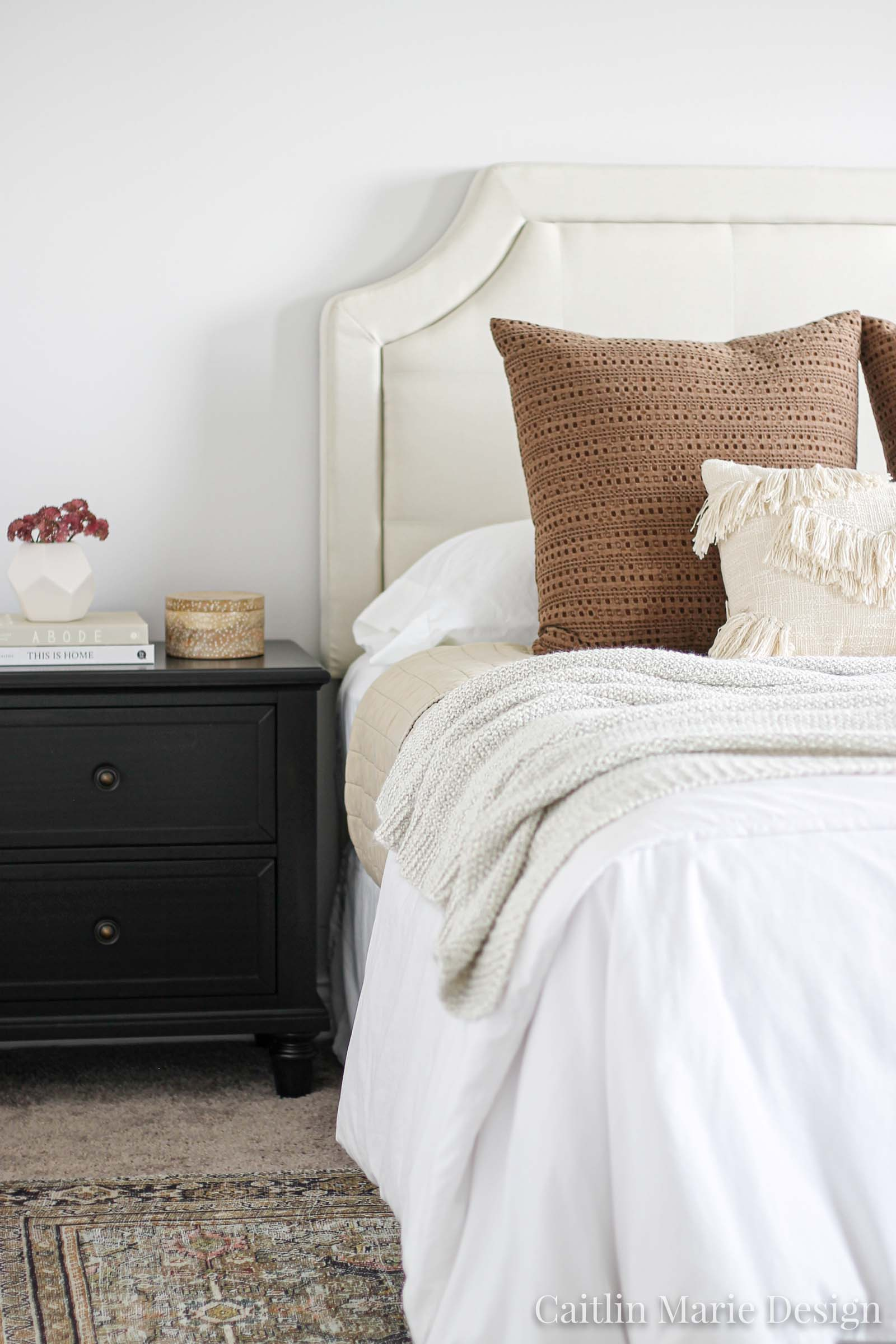 How to Layer Bedding - Caitlin Marie Design | modern traditional, minimalist home, natural decor, dark stain nightstand
