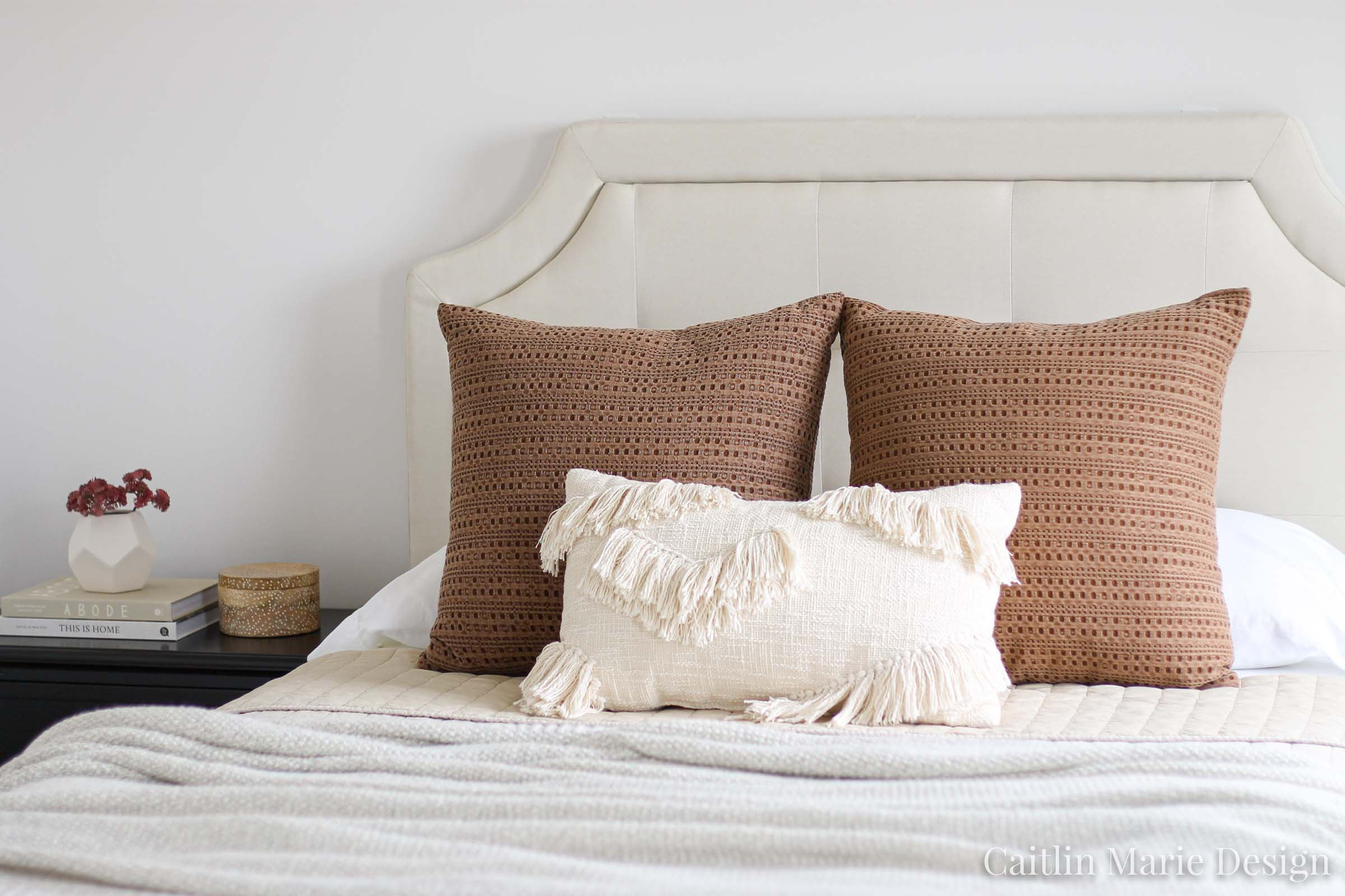 How to Layer Bedding - Caitlin Marie Design | modern traditional, minimalist home, natural decor, Loloi Layla, upholstered headboard