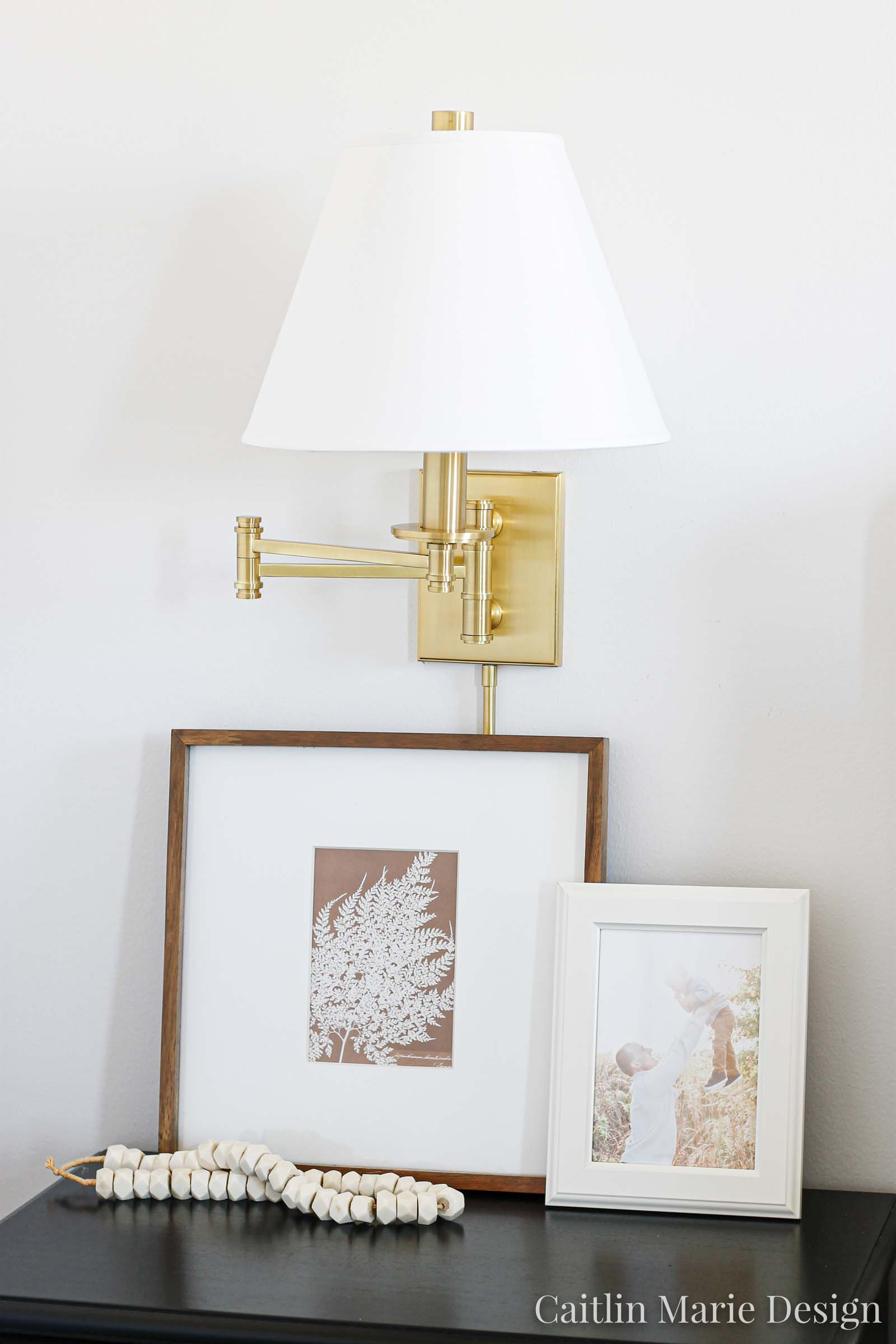 How to Style Nightstands (ORC Week 5) | modern traditional bedroom design, simple bedroom decor, brass swing arm sconce, side table styling