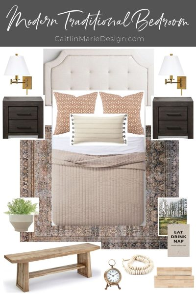 Mood Board for a Modern Traditional Guest Room (ORC Week 1) | bedroom makeover, One Room Challenge, bedroom mood board, vintage rug, brass swing arm sconce, linen headboard