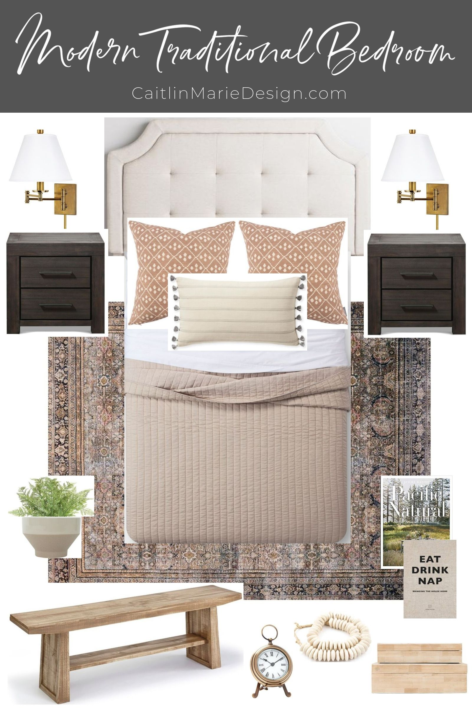 Modern Traditional Guest Room Mood Board Orc Week 1 Caitlin Marie Design