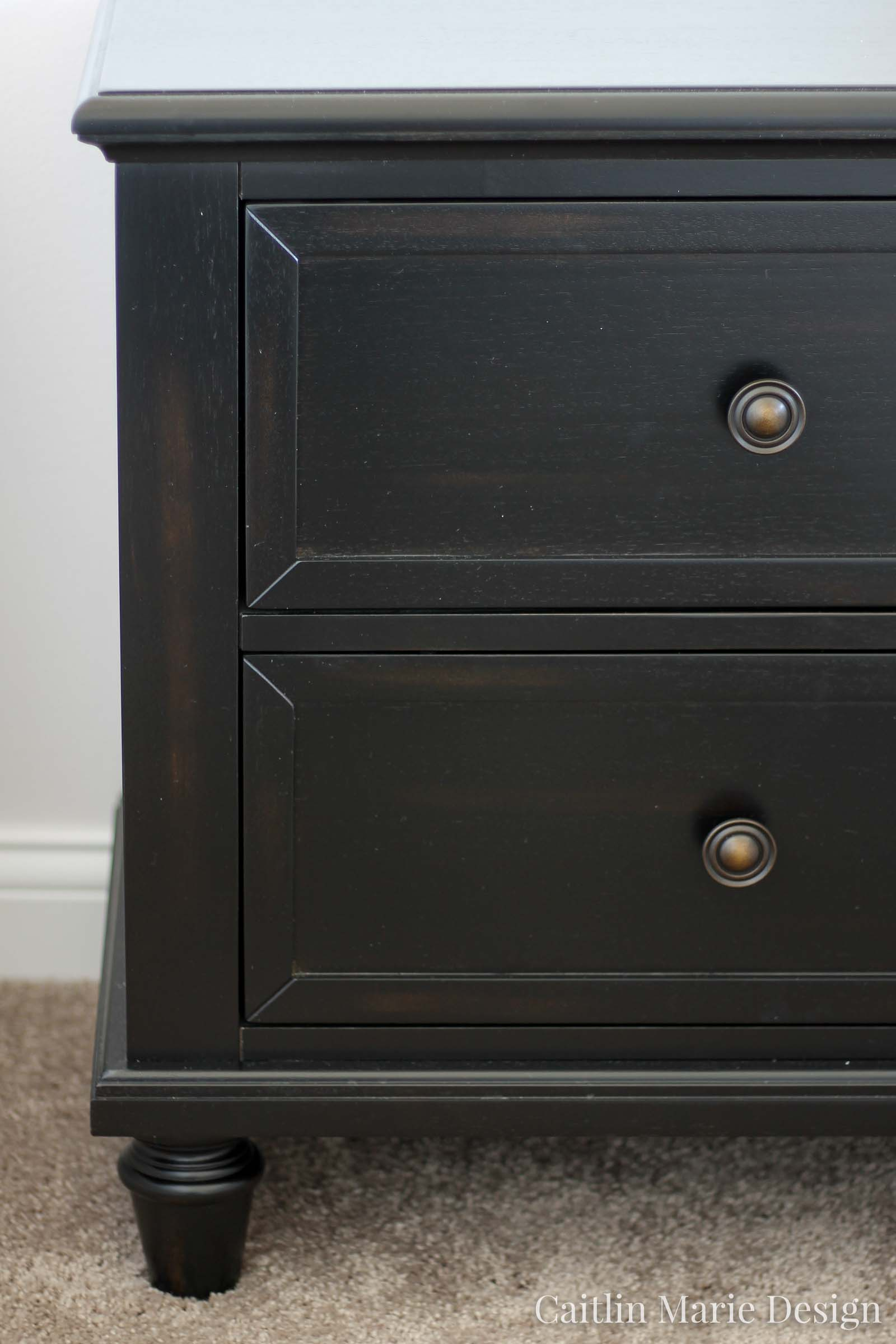 Dark stain traditional nightstand, modern traditional bedroom, One Room Challenge