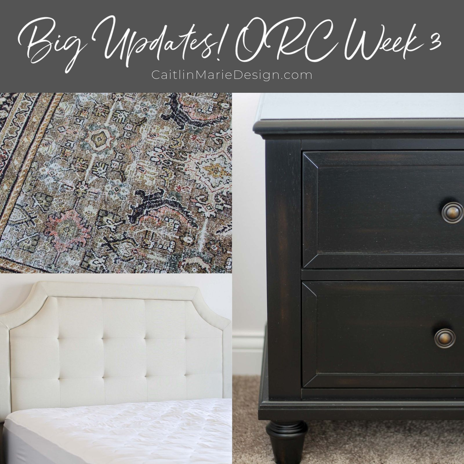 One Room Challenge Week 3, Modern Traditional Bedroom, Loloi Layla rug, Brookside headboard, dark stain nightstand