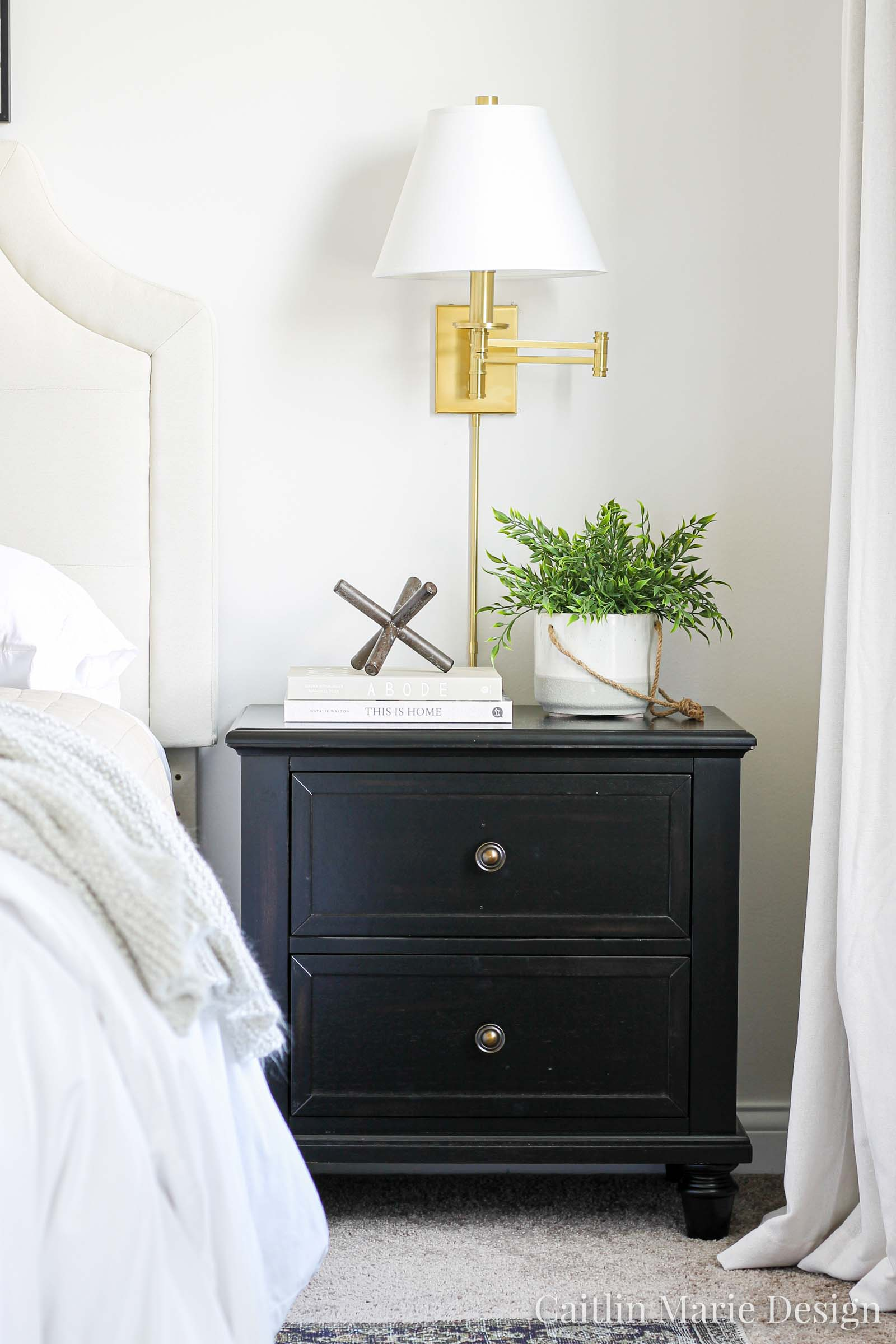 One Room Challenge Fall 2019 Reveal | modern traditional bedroom decor, dark stain nightstand, modern boho, landscape painting, brass sconces, textured bedding