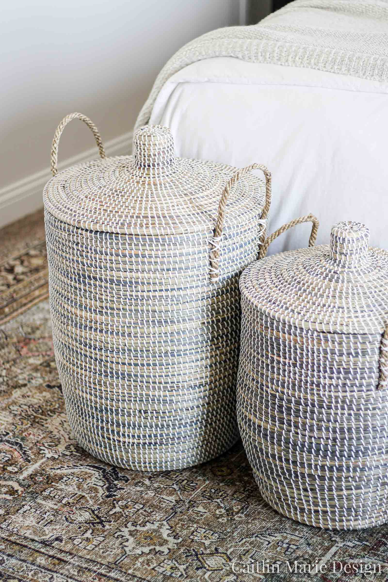 One Room Challenge Fall 2019 Reveal | modern traditional bedroom decor, lidded baskets