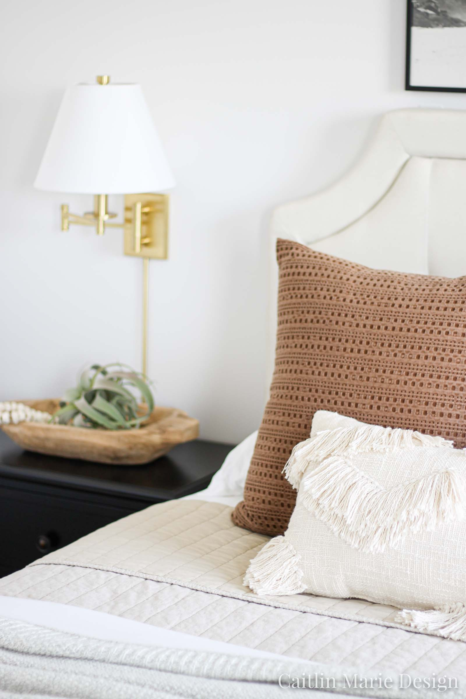 One Room Challenge Fall 2019 Reveal | modern traditional bedroom decor, dark stain nightstand, modern boho, brass sconces, layered bedding