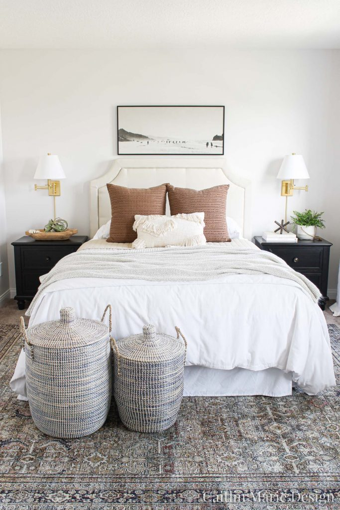One Room Challenge Fall 2019 Reveal | modern traditional bedroom decor, lidded baskets, modern boho, landscape painting, brass sconces, textured bedding