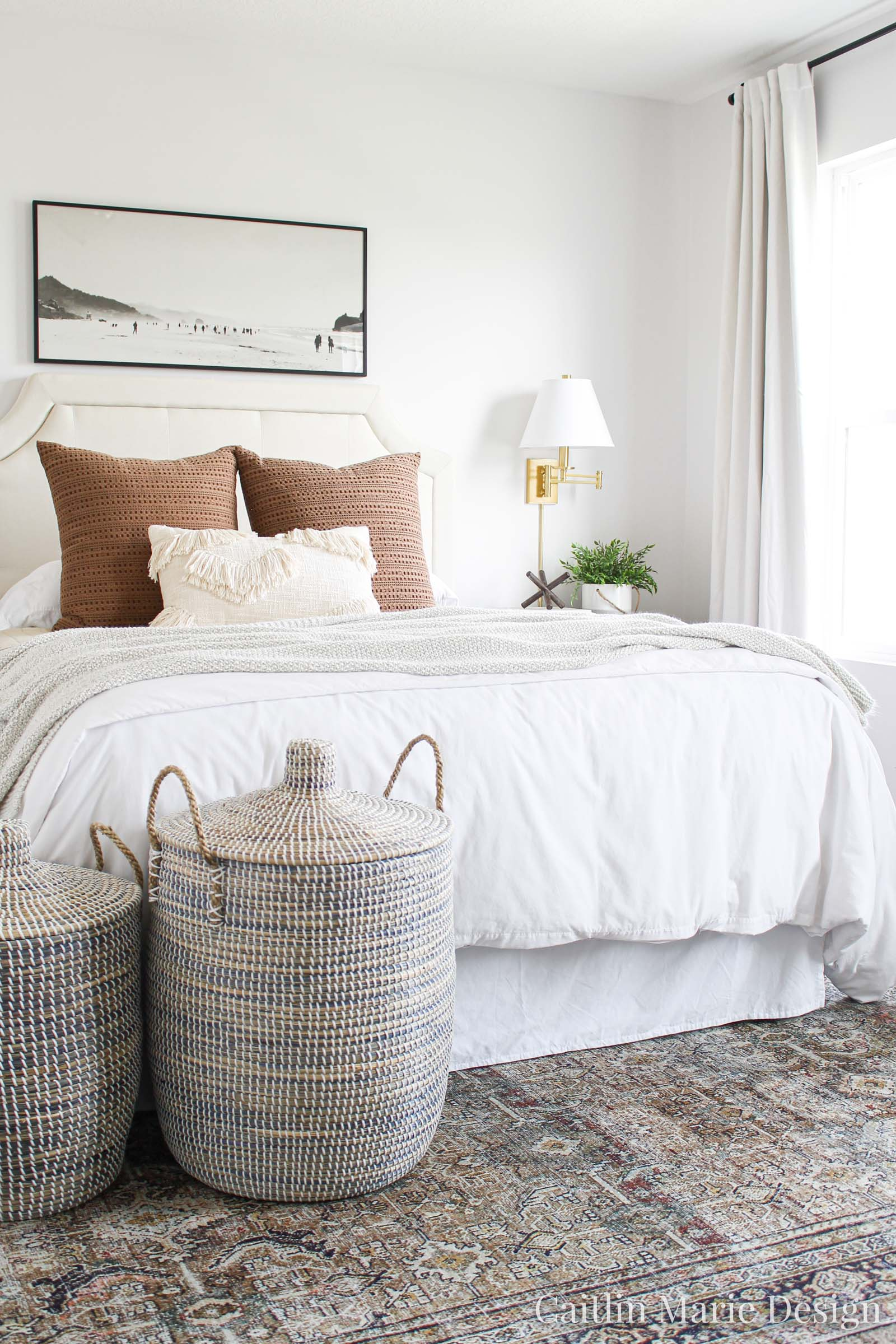 One Room Challenge Fall 2019 Reveal | modern traditional bedroom decor, modern boho, landscape painting, brass sconces, textured bedding