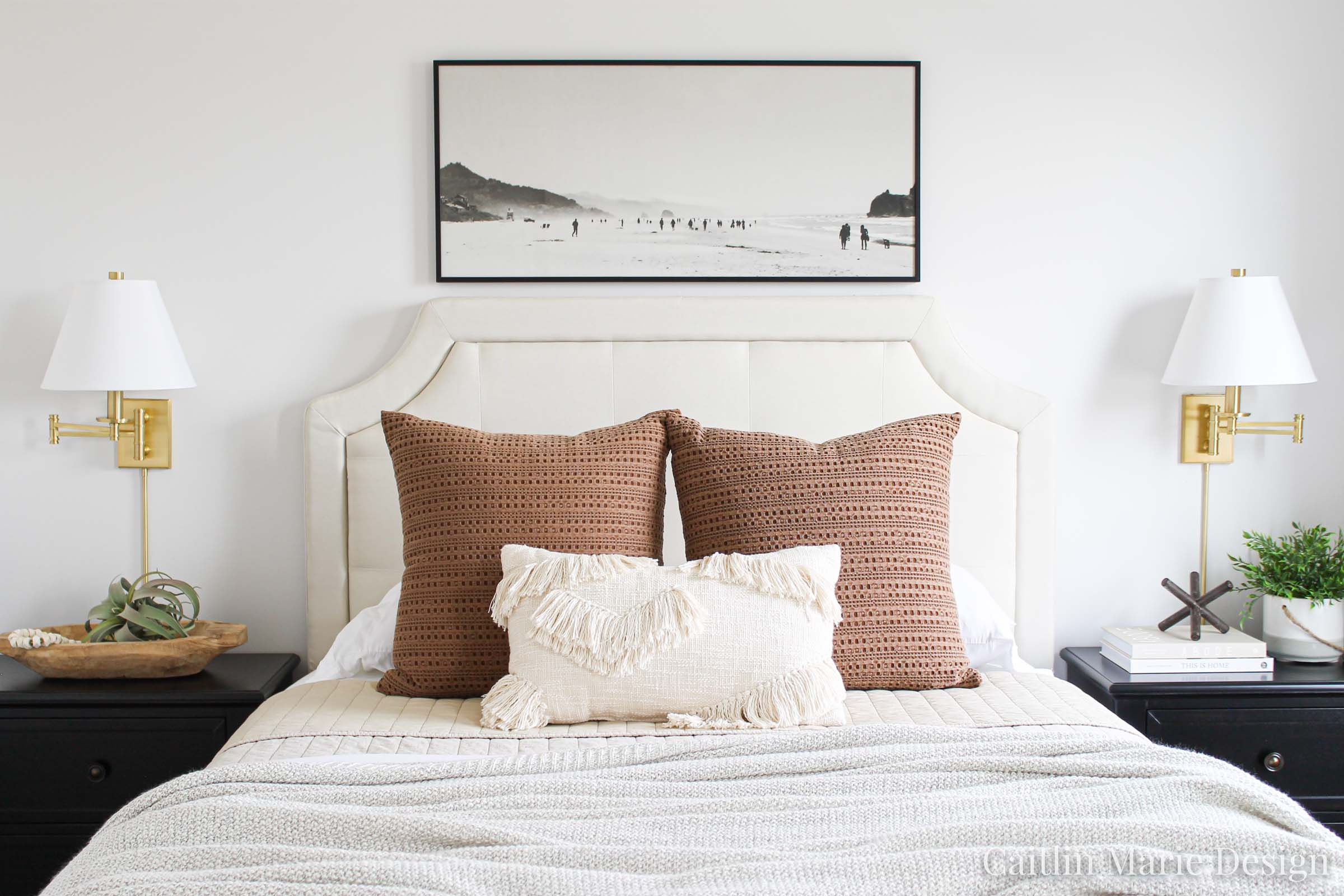 One Room Challenge Fall 2019 Reveal   modern traditional bedroom decor, modern boho, landscape painting, brass sconces, textured bedding