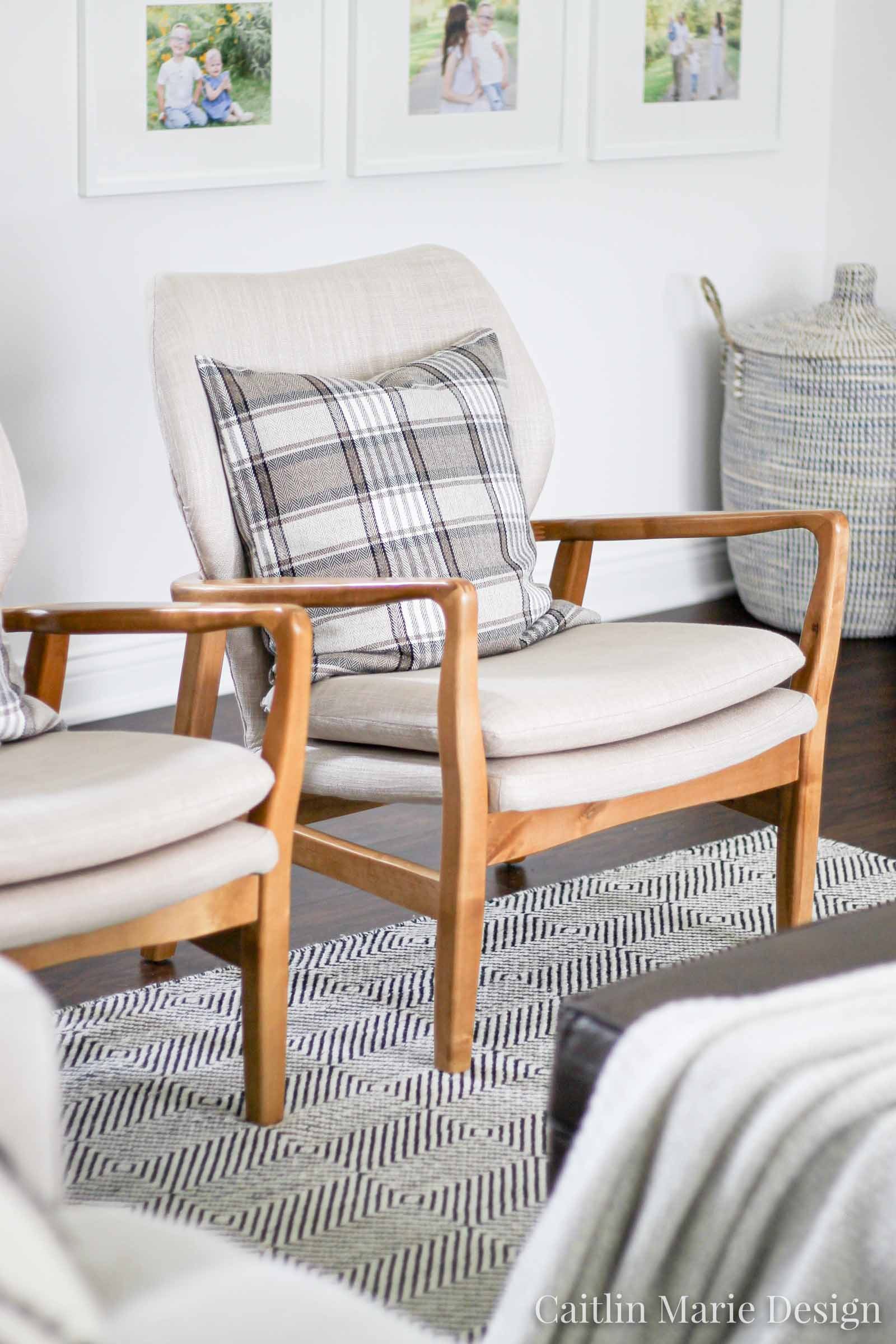 Christmas Home Tour 2019 | wood midcentury accent chair, modern home decor, minimalist home, neutral Christmas, scandi Christmas