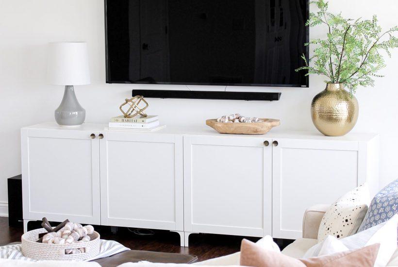 Ikea Besta Modern Media Console at CaitlinMarieDesign.com | IKEA hack, minimalist home, modern traditional, brass knobs, DIY home