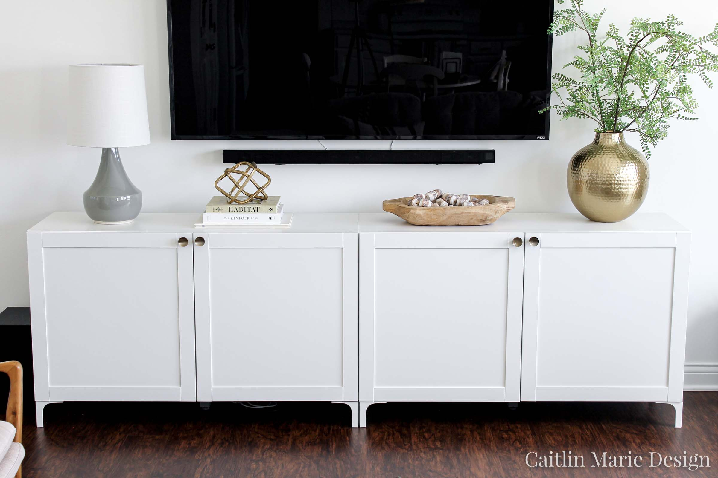 Ikea Besta Modern Media Console at CaitlinMarieDesign.com | IKEA hack, minimalist home, modern traditional, brass knobs, DIY home