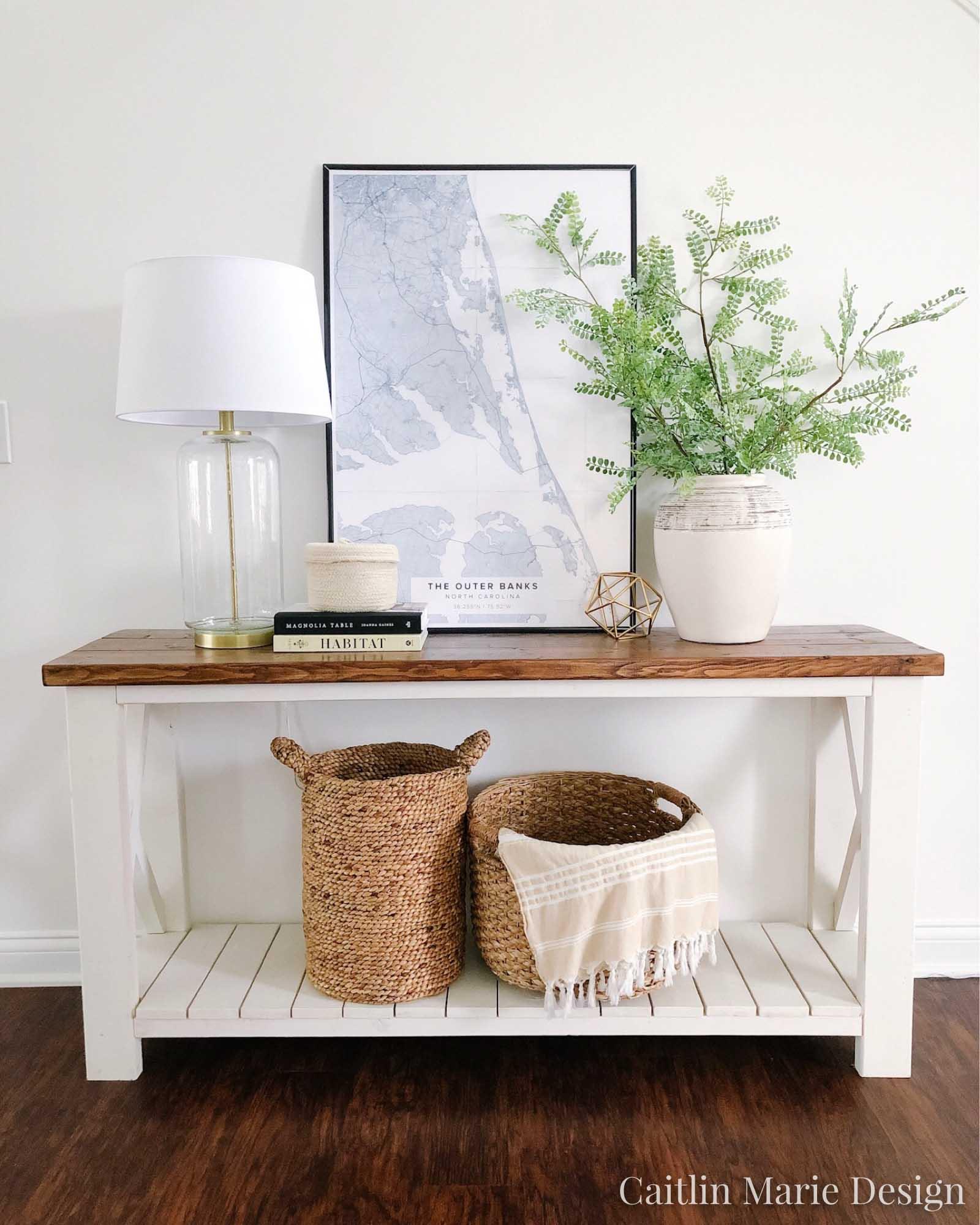 Entryway Styling Ideas | coastal modern decor, coastal home, Mapiful, jar vase, baskets