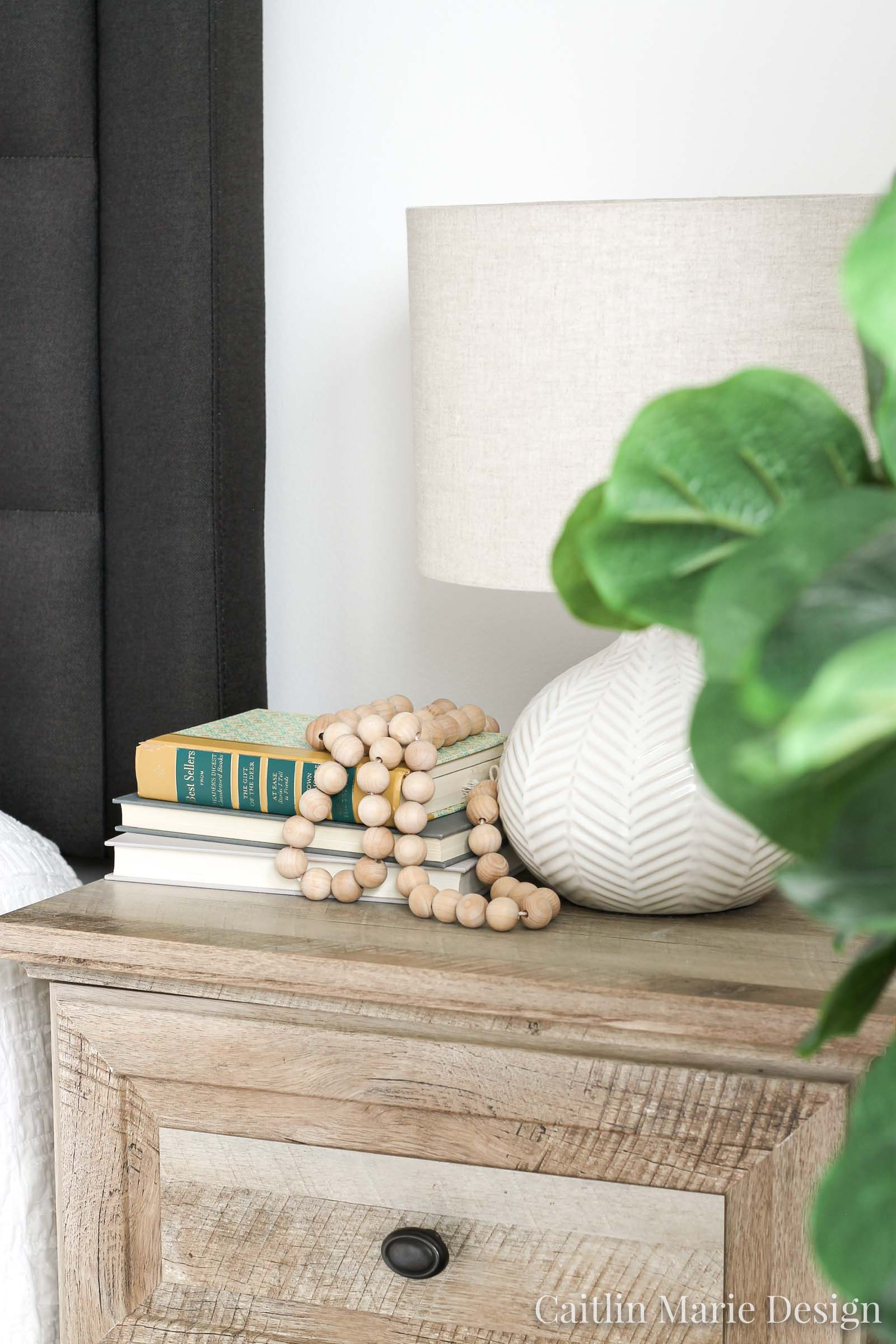 Interior Photography Tips for Designers and Bloggers | wood bead garland, weathered wood nightstand, modern traditional decor