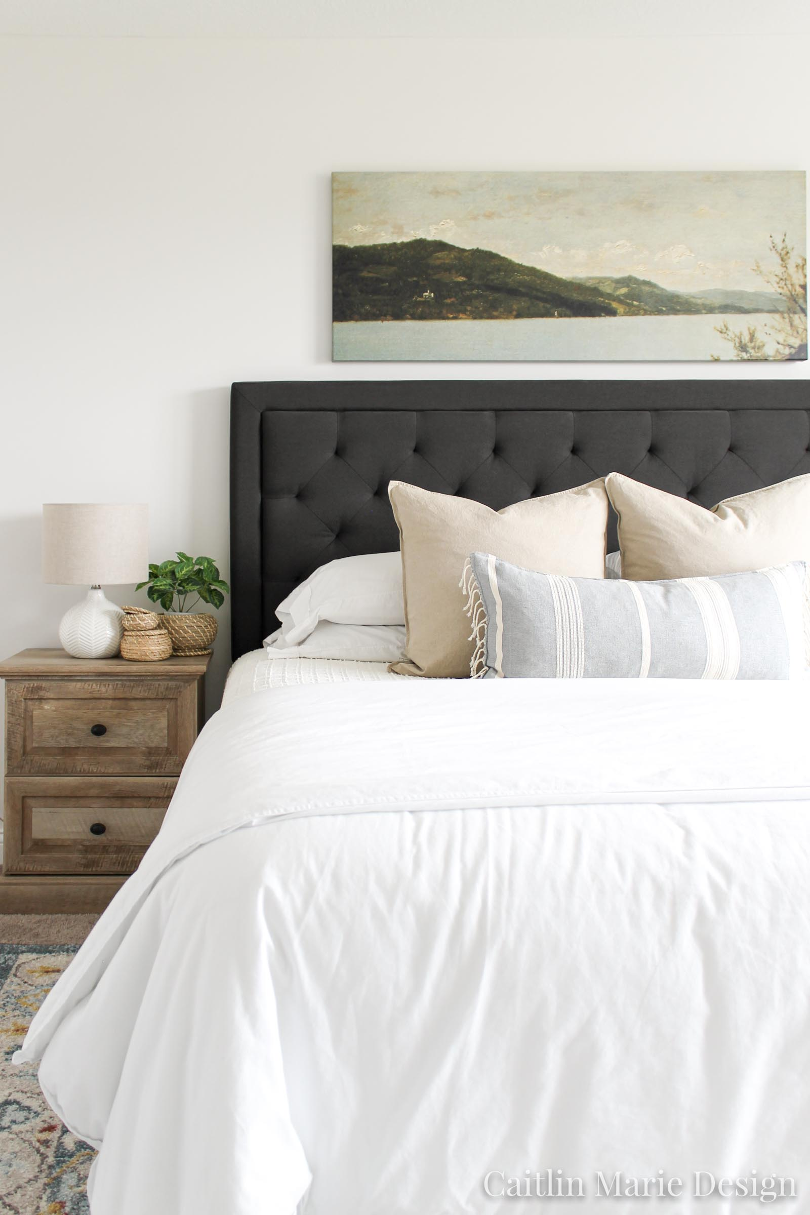 Interior Photography Tips for Designers and Bloggers | charcoal upholstered headboard, wide art above the bed, modern bedroom