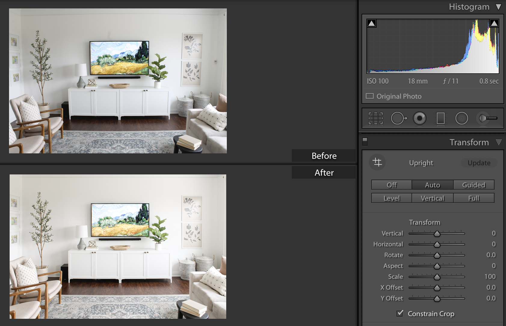 Interior Photography Tips - Lightroom Classic edits, camera distortion