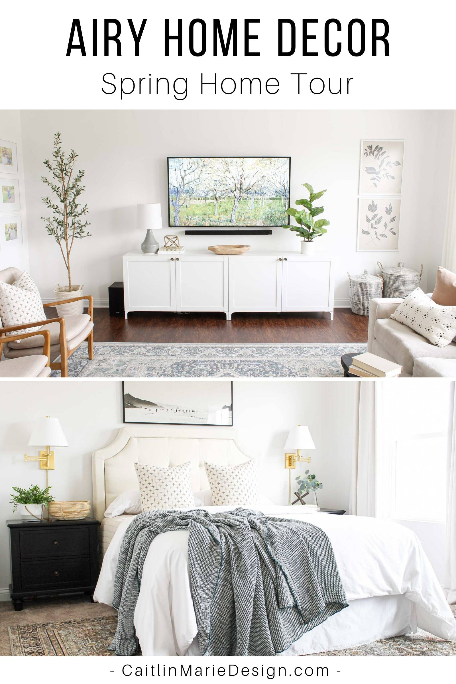 Airy Home Decor | Spring Home Tour | coastal decor, frame tv hack, modern media console, IKEA besta, modern traditional, lidded baskets